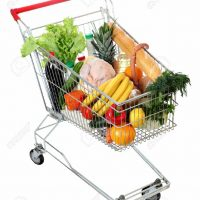 filled shopping trolley, grocery trolley filled with food