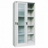 DUAL CABINET WITH SLIDING GLASS DOOR